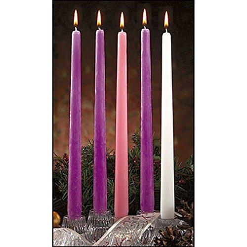 Praiselight Paquete de 5 Velas de adviento de Cera de Color Morado Rosa y Blanco de 12 Pulgadas