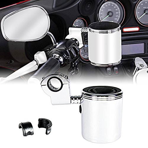 """Rudyness Chrome Adjustable Cup Holder for Harley ATV Motorcycle 7/8'&1""""&1 1/4"""" Handleble"""