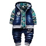 3-teiliges Babykleidungs-Set für Jungen, Baumwollhemd, Jeans, Jeansweste, für Frühling & Herbst Gr. 1-2 Jahre, grün
