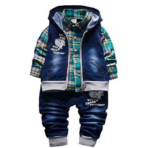 Spring Autumn Baby Boys 3pcs Clothing Set Cotton Shirt Jeans Denim Vest(Green,2-3Y)