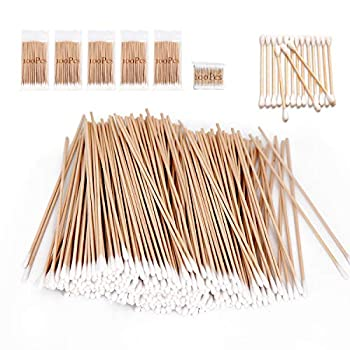 500 Pcs Long Wooden Cotton Swabs Cleaning Sterile Single Sticks Ball for Medical Oil Makeup Supplies Glue Applicators Eye Ears Eyeshadow Brush Remover Tool Camera Cotton Tips Home Accessories