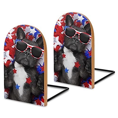 1 Pairs/2 Pieces Wood Bookends,French Bulldog Waving American Flag Independence Day July 4 Non Skid Wood Book Stand for Home Office School,L-Shaped Book Ends Perfect for Books,DVD's,CD's,Video Game