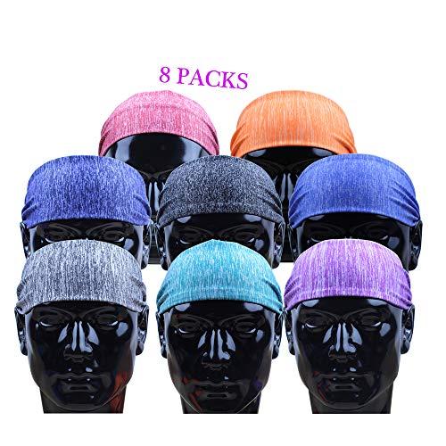 Doteonhome 8PCS Sports Headband for Women & Men Fashion Personalized Yoga Sport Athletic Hair Band