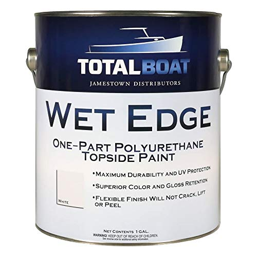 TotalBoat Wet Edge Marine Topside Paint for Boats, Fiberglass, and Wood (White, Gallon)