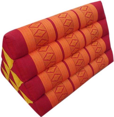 Guru-Shop Dreieck Thaikissen, Dreieckskissen, Kapok - Rot/orange, 30x30x50 cm, Asiatisches Sitzkissen, Liegematte, Thaimatte
