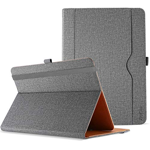 """ProCase Universal Hülle für Tablet bis 10.1 Zoll Case Verstellbar Cover 9 9.7 Zoll mit Multi Blickwinkeln Kartentasche, PU Lederständer Klapphülle für 9"""" 10"""" 10.1"""" Tablet -Grau"""