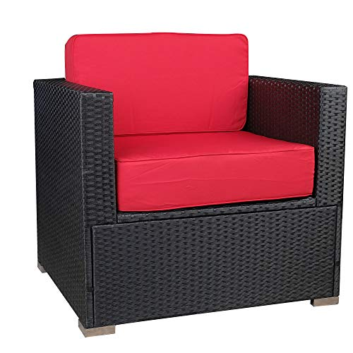MCombo Outdoor Patio Black Wicker Furniture Sectional Set All-Weather Resin Rattan Chair Modular Sofas with Water Resistant Cushion Covers 6082-5003AS (Red)