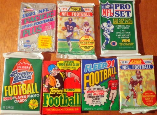 Over 100 Vintage NFL Football Card Collection in Old Sealed Wax Packs - Perfect for New Collectors. Look for Rookie Cards, Hall of Famers, Special Inserts, and More!! (Packs ARE FUN to Open).