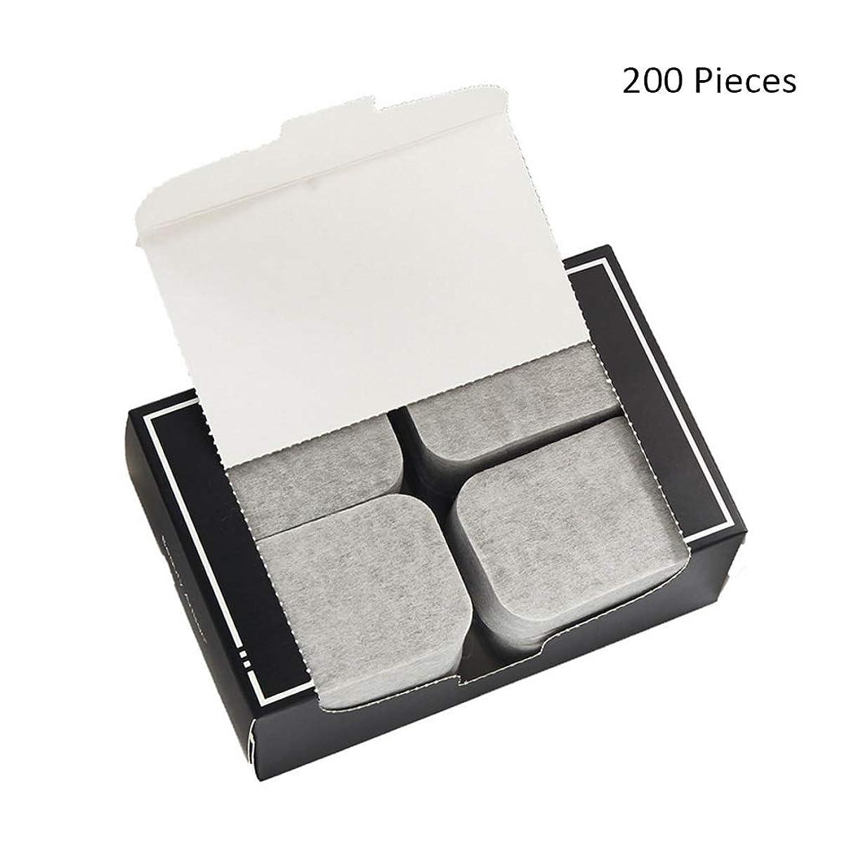 十分キリマンジャロ郵便200ピース/パックフェイスメイクアップリムーバー竹炭ポータブルコットンパッドソフトクレンジングメイクピュア両面リムーバーコットン (Color : Gray, サイズ : 7*5cm)