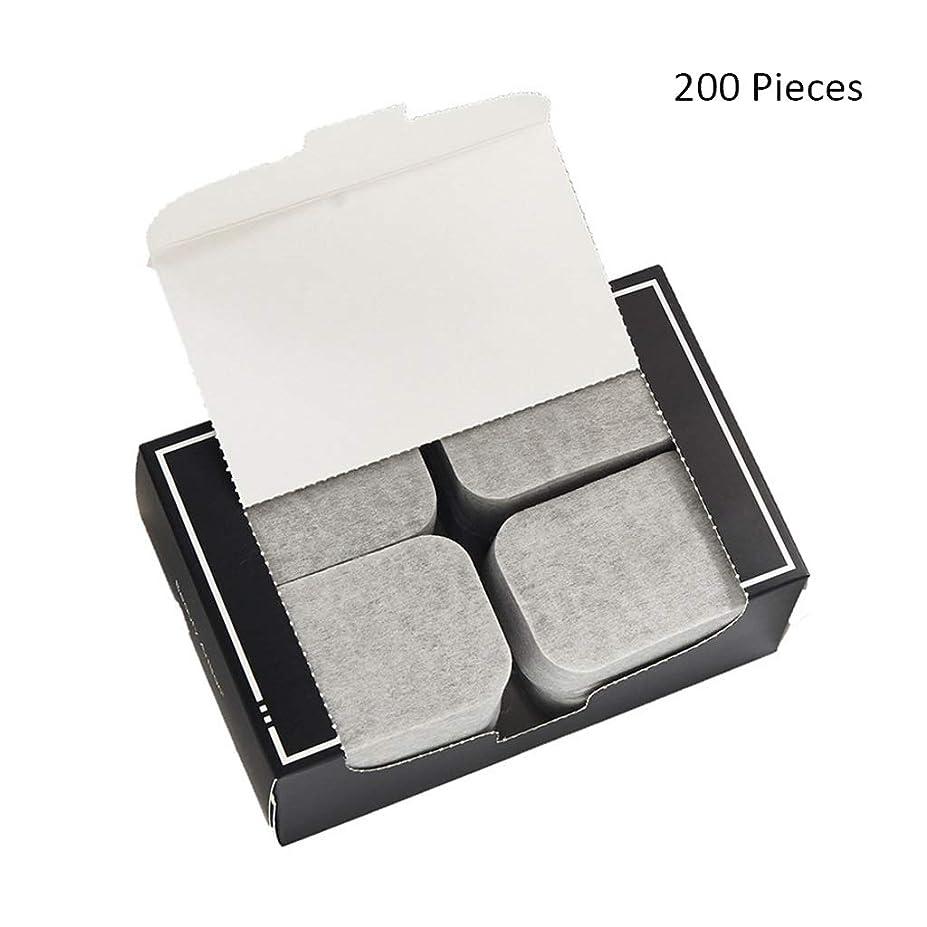 ダウンジャーナル幼児クレンジングシート 200ピースフェイスメイクアップリムーバー竹炭コットンパッドソフトクレンジングメイクピュアコットン両面スライス 落ち水クレンジング シート モイスト (Color : Gray, サイズ : 7*5cm)