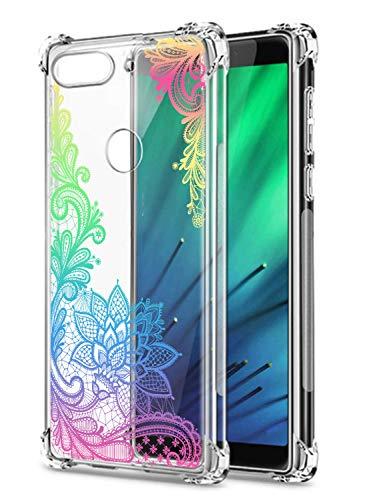 Cristal Compatible con Huawei Mate 30 Lite/NOVA5I Pro Funda Transparente TPU Silicona Estuche Airbag Esquinas Anti Choque Anti Rasguños Diseño Rosa Flower Caso (Flores B7)