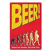 ビール進化史 メタルポスタレトロなポスタ安全標識壁パネル ティンサイン注意看板壁掛けプレート警告サイン絵図ショップ食料品ショッピングモールパーキングバークラブカフェレストラントイレ公共の場ギフト