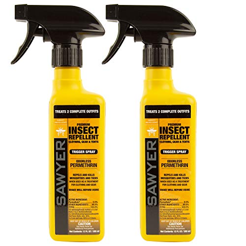 Sawyer Products SP6492 Premium Permethrin Insect Repellent for Clothing, Gear & Tents, Trigger Spray, 12-Ounce, Twin Pack