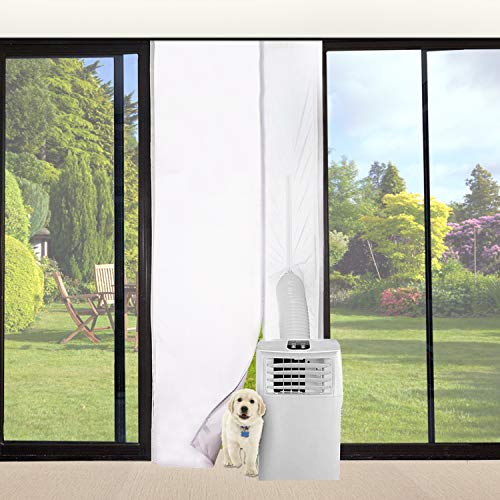 """FUNTECK Screen Door Seal for Portable Air Conditioner and Tumble Dryer, Snap Shut Automatically, Fits Door Size up to 34""""x82"""" Max"""