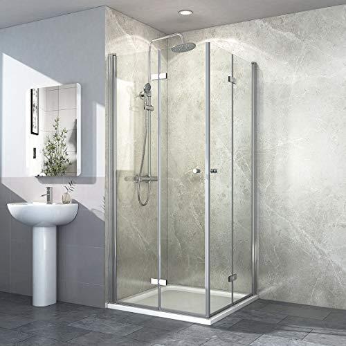 Eckeinstieg Duschkabine 80x80cm Klappbar Duschabtrennung 6mm ESG Glas Falttür Duschtür Duschwand
