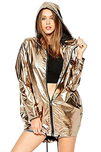 Hoodies Outerwear Long Sleeve Sweatshirt Gold Metallic Zipper Up Punk Raincoat Showerproof Outerwear Jacket…