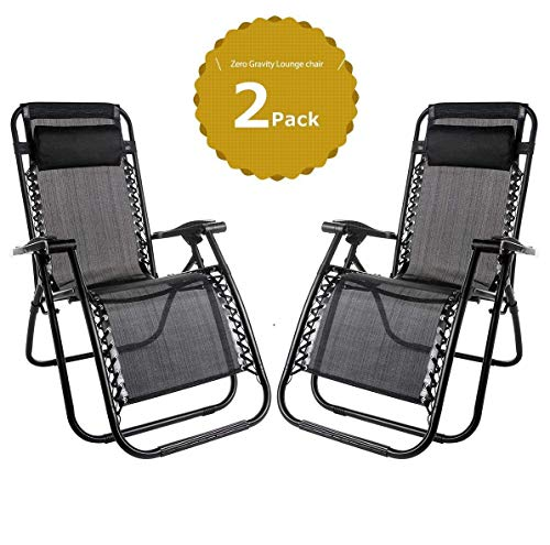 Domy Set of 2 Heavy Duty Textoline Zero Gravity Chairs Garden Outdoor Patio Sunloungers Folding Reclining Chairs Lounger Deck Chairs