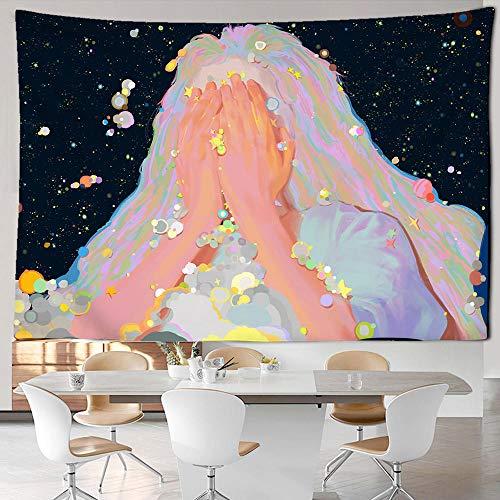 WYFCLHH Tapiz para decoración de pared, diseño de niña anime, diseño psicodélico, para colgar en la pared, dormitorio, sala de estar, 51.2 × 59.1 pulgadas
