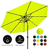 Best Choice Products 10ft Solar LED Lighted Patio Umbrella w/Tilt Adjustment, Fade-Resistant Fabric - Light Green