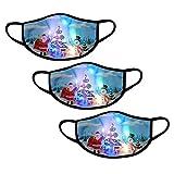 3 Stück LED WeihnachtsMaske für Erwachsene, Mädchen Jungen Mundschutz Gesichtsschutz 3D Cartoon Druck Bandana, Stoffmaske Baumwolle Atmungsaktiv Mund-Nasen Bedeckung Halstuch Schals (B)