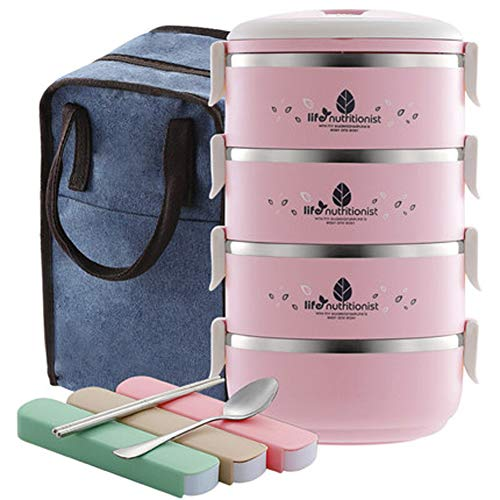 Fiambrera de 4 capas apilable aislada de acero inoxidable Bento Box aislada bolsa de almuerzo contenedor de almacenamiento de alimentos para niños estudiantes (verde) moderno Size rosa