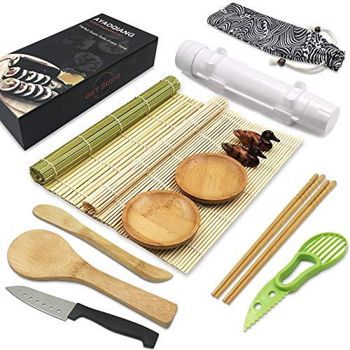 Sushi Making Kit,14 Pieces Sushi Kit,Includes Sushi Bazooka,Bamboo Sushi Mat,Chopsticks,Avocado Slicer,Paddle,Spreader,Sushi Knife,Chopstick Holders,Saucers,Cotton bag,DIY Sushi Tools