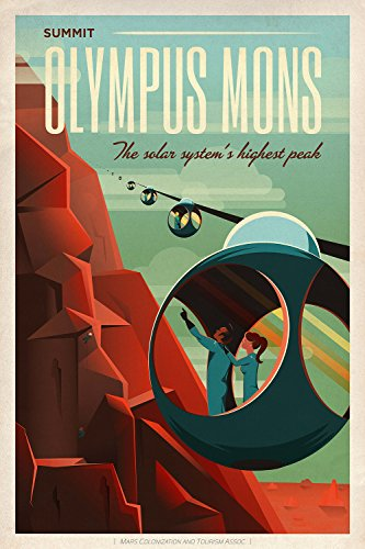 Spiffing Prints SpaceX Mars Tourism Poster for Olympus Mons - Extra Large - Matte Print