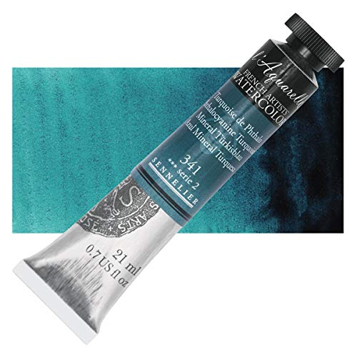 Sennelier L'Aquarelle French Watercolor, 21ml Tube, S2 Phthalo Turquoise