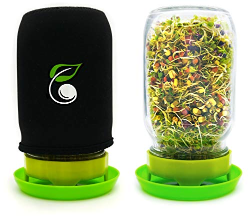 Sprouting Jar Kit Seed Sprouter Set Includes Wide Mouth Mason Jar, Stainless Steel Mesh Lid, Blackout Sleeve and Plastic Drip Tray for Making Seeds Sprouts