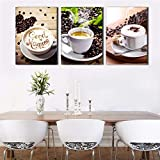 XIANRENGE Leinwanddrucke,3 Panel Tee Und Kaffee Poster