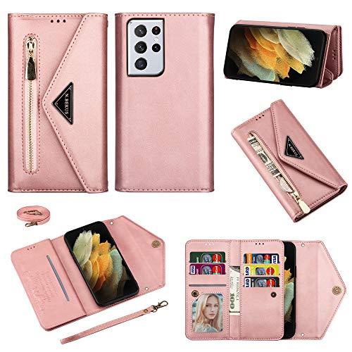 TOPOFU Funda para Samsung Galaxy S21 Ultra 5G Case, Cartera de Cuero Real Suave para Celular Monedero para Mujer Monedero para Mujer Bolso para Teléfono Crossbody-Rosado