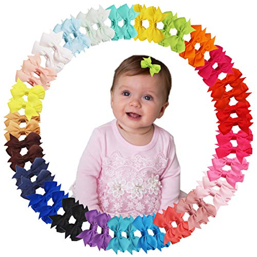 50Pcs 25 Color Hair Bow Clip for Baby Girl Fully Covered Non Slip for Fine Hair Small 2 Inch Toddler Girl Hair Accessories Assorted Solid Color Kid Hair Barrettes