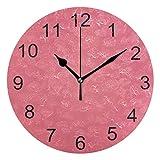 Gokruati Reloj de Pared silencioso,Reloj de Cocina,Relojes de Cuarzo silencioso Que no Hace tictac,para Sala de Estar,dormitorios,(Diámetro: 25 cm),Diseño sólido de Pared de Color Rosa