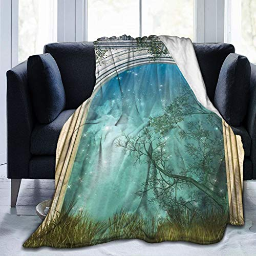Manta suave y esponjosa, mágica antigua curva de puerta en el bosque, mística surrealista, impresión mundial, súper suave, manta de forro polar, manta de dormitorio, cama de TV, manta de 127 x 101 cm