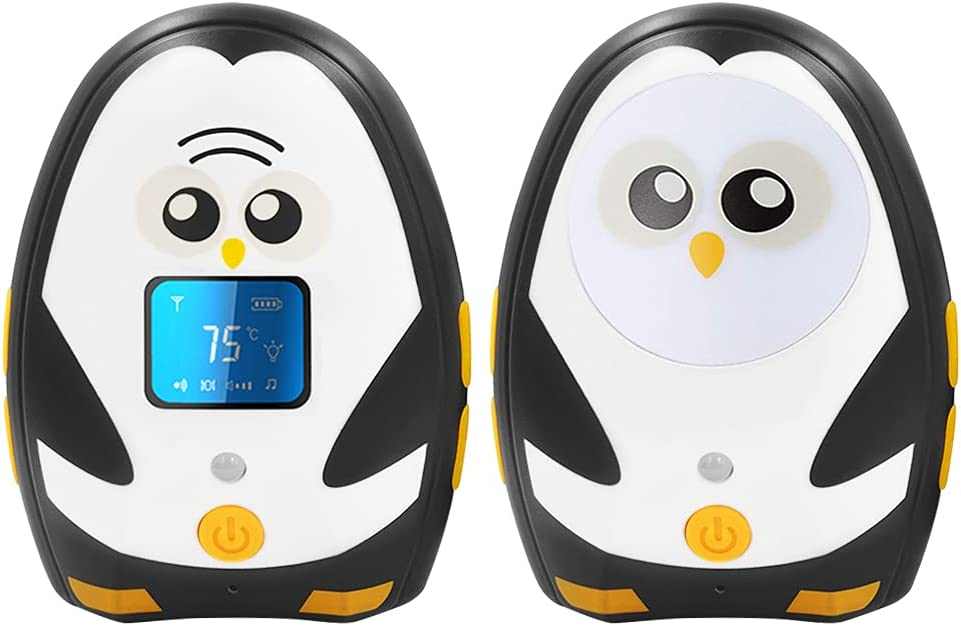 TimeFlys Audio Baby Monitor Mustang QQ, Two Way Talk, Long Range up to 1000 ft, Vibration, Temperature Monitoring, Warning, Lullabies, LCD Display, Rechargeable Battery, Night Light