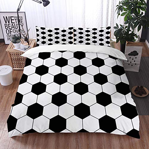 Bedding Sets Duvet Cover Set, Tile Pattern Black White Hexagon Soccer Ball Geometric Abstract Design Football Geo Line Hex Geome,3-Piece Comforter Cover Set 135 x 200 cm +2 Pillowcases 50*80cm