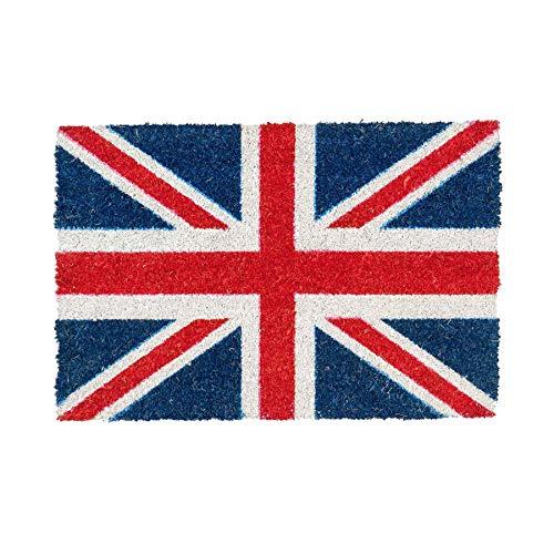 Nicola Spring Felpudo Antideslizante - Diseño con la Bandera de Reino Unido - Fibra de Coco con Reverso de PVC - 40 x 60cm