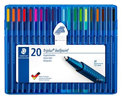 Staedtler 437 MSB20 Kugelschreiber triplus ball (ergonomische Dreikantform, hohe Qualität, Set mit 20 brillanten Farben, Linienbreite M)