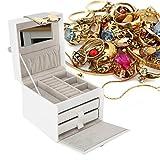 Joyero, caja de almacenamiento de escritorio portátil de cuero de la PU, con asa para el organizador de la joyería del pendiente de la joyería