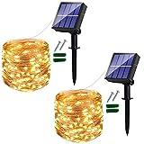[2 Pack] Guirnaldas Luces Exterior Solar 120 LED, Luces Led Solares Exteriores Jardin, 12 m, 8 Modos, Cadena de luz solar decorativa para balcón, árboles, terraza, Patio, Bodas (Blanco Cálido)