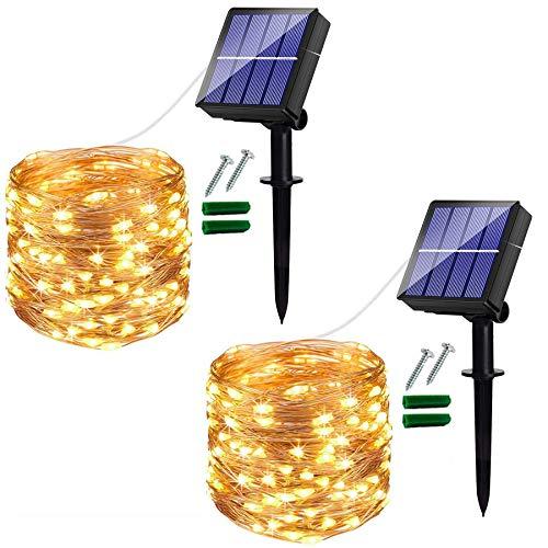 [2 Pack] Guirnaldas Luces Exterior Solar 120 LED, Luces Led Solares Exteriores...