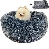 Boehner Cama Redonda para Perros, Felpa Suave, Lavable y calentita, cómoda para Dormir en Invierno (Donut Pet Bed), Gris Oscuro, 100 cm