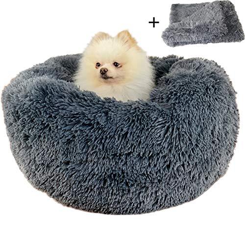 Boehner Rundes Hundebett, Plüsch weich waschbar selbst erwärmend beruhigend Hundebett Donut Cuddler Rundes Hundebett bequem zum Schlafen Winter (Donut Pet Bed 100cm)