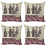 ABAKUHAUS Victoriano Set de 4 Fundas para Cojín, Las Mujeres Bolso de Moda, Estampado Digital en Ambos Lados y Cremallera, 40 cm x 40 cm, Rose Gris