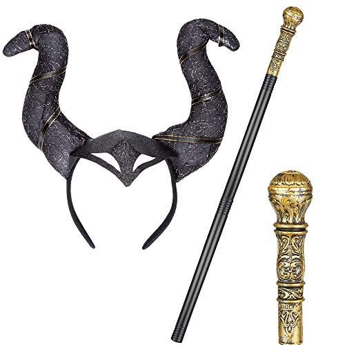 REDSTAR FANCY DRESS Disfraz de bruja malvada para Halloween, juego de 2 piezas de palo dorado y diadema con cuernos
