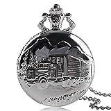 Lusso orologio da tasca, in argento massiccio autocarro carving da tasca per uomo donna, semplice auto camion stile orologio da tasca regalo