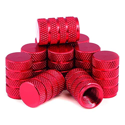 LIHAO 10x Ventilkappen Set Rot für Auto Motorrad Fahrrad Reifen Ventile(Verpackung MEHRWEG)