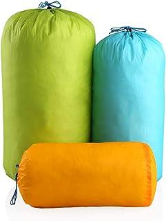 15D スタッフバッグ 登山 超軽量 透湿防水 アウトドアバック 折りたたみ 収納 巾着袋 運動 旅行 男女兼用 3L/6L/12L・3枚セット