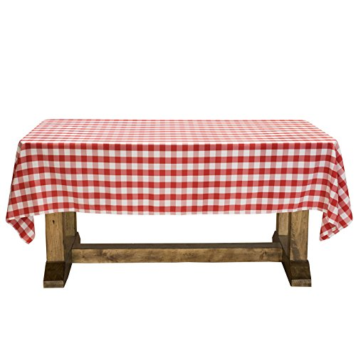 Lann's Linens - 60' x 126' Premium Checkered Tablecloth - Rectangular Polyester Fabric Picnic Table Cover - Red & White Gingham Cloth