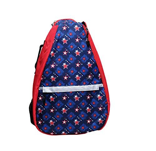 Glove It Tennis-Rucksack für Damen, leichte Damen Tennistasche & Sling Rucksack für 2 Schläger, Bälle, Wasserflasche, Blauer Leopard, Einheitsgröße (TR280)